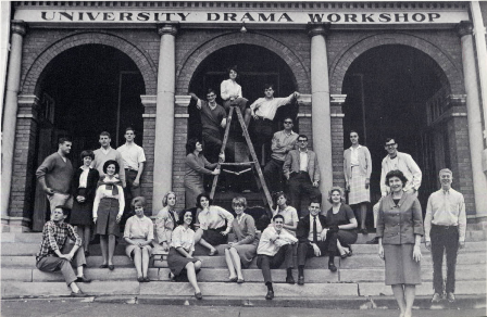 Members of the University Players, an acting group at the University of Chattanooga, pose with theater professor Dorothy Hackett Ward, who is standing second from the right, in this 1966 photo.