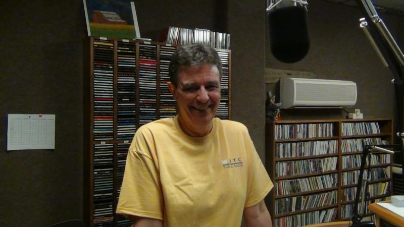 WUTC's Richard Winham nearly glows as he models the new honey-colored T-shirt.