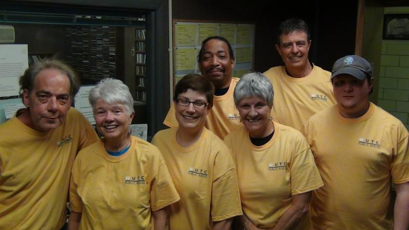 WUTC staff and phone volunteers show off this season's bright new T-shirt.
