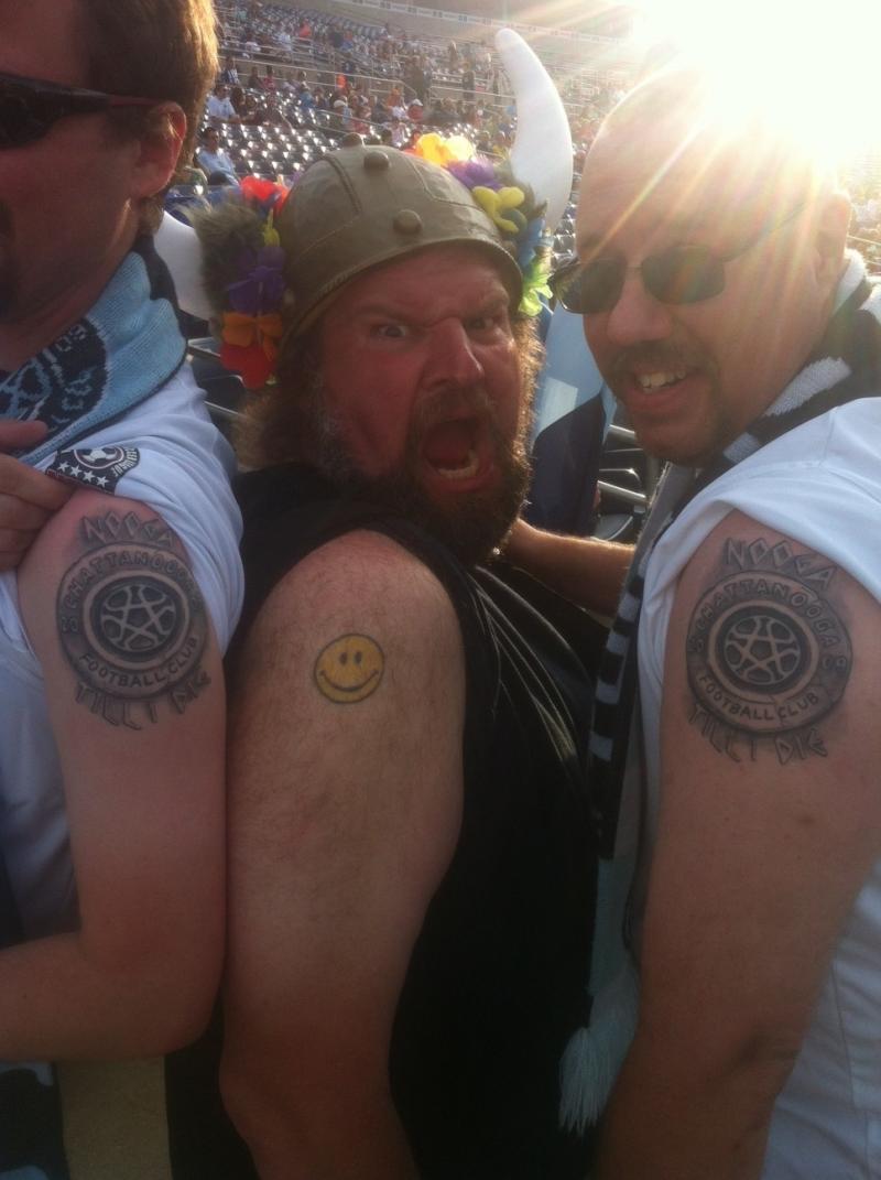 Chattahooligans showing their tattoos