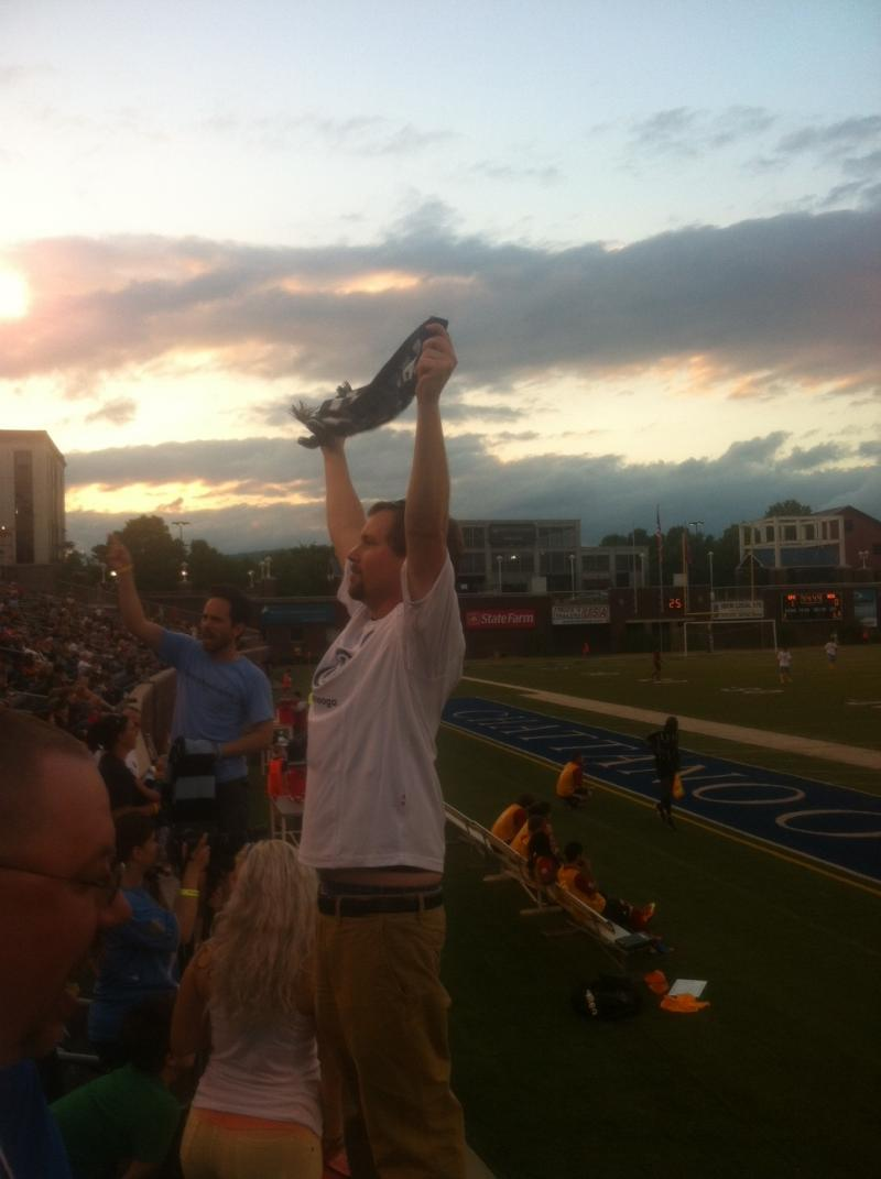 Chattahooligan Joe Evans waving his CFC flag