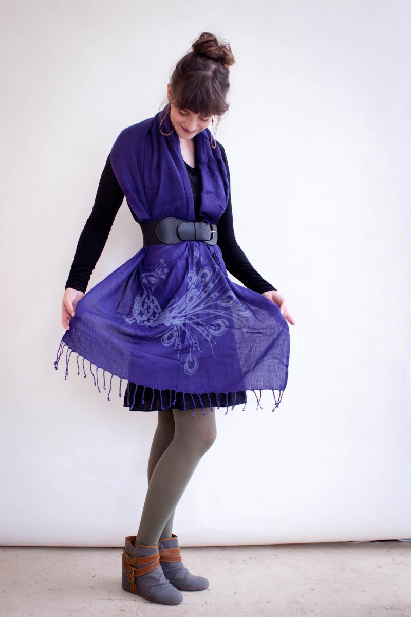 Jocelin Yagel shows off a majestic blue Sankofa scarf.