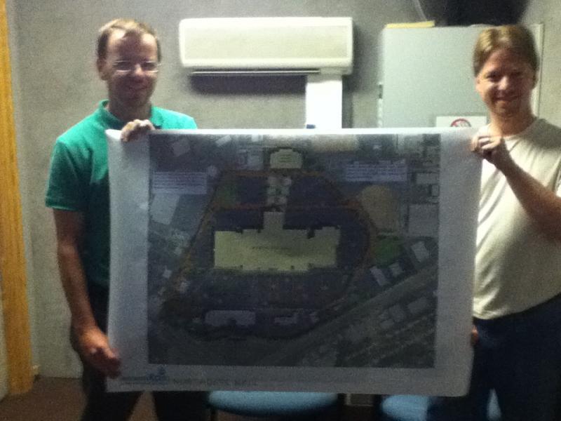 Joseph Parks (l) and Tripp Mullins (r) show off their winning design plans.