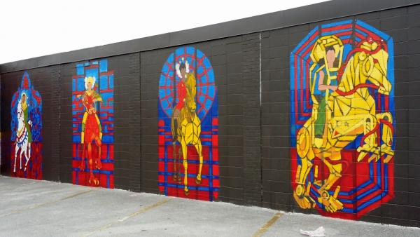 "Hollie Berry created this mural, ""The Four Horse Women."""