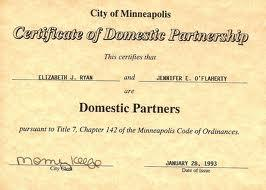 If a domestic partnership registry is approved, certificates such as those issued in Minneapolis, MN will be available in Pensacola.
