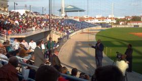 NBA Legend Magic Johnson speaks at Pensacola Bayfront Stadium.