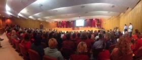 Pensacola City Council Chambers were full when the council passed the ordinance to create a domestic partnership registry. Supporters wore red.
