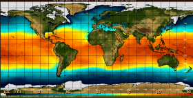 "Sea surface temperature guide; warming waters in the Pacific Ocean cause the phenomenon known as ""El Nino""."