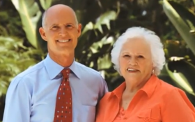 Rick Scott with his mother, Esther Scott, as part of a new wave of campaign ads describing his upbringing.