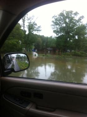 Flooding outside the Floridatown home where Joshua Condon has lived for 8 years.