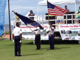 American Legion color guard at the Hurricane-Disaster preparedness Day event at Community Maritime Park in Pensacola Saturday morning.