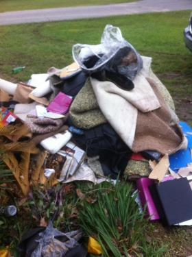 Flood debris outside Floridatown home.