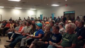 Residents pack Bagdad Recreational Facility for the final public hearing on proposed military training in the Blackwater River State Forest.