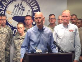 Gov Rick Scott at the Escambia County Emergency Operations Center