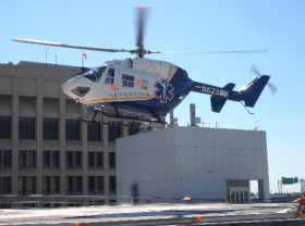 A LifeFlight helicopter at the Jacksonville, FL location of Baptist Healthcare.