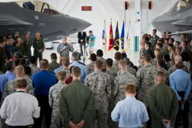 Defense Sec. Hagel talks with service personnel at 33rd Fighter Wing.