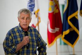 Defense Sec. Chuck Hagel talking to military personnel at Eglin AFB.