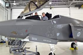 Defense Sec. Chuck Hagel checks out an F-35 at the 33rd Fighter Wing.