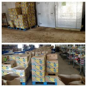 Food is ready for distribution at the Manna Food Pantries warehouse. The building was under 5 feet of water in April, destroying most of Manna's inventory.