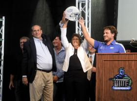 UWF President, Judy Bense, announces the formation of the University's first football team.