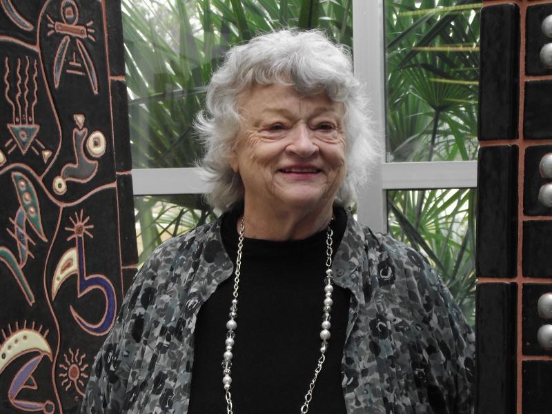 Lucy Morgan in the atrium of building 88.