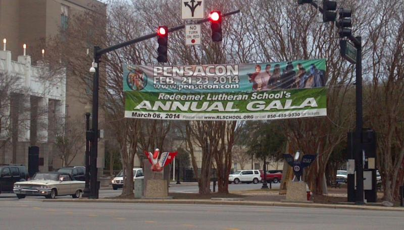 Pensacon banner downtown