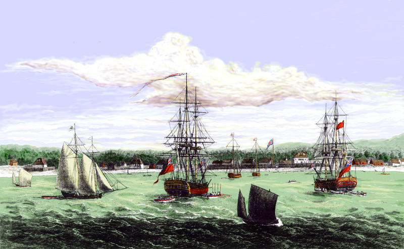 A View of Pensacola in West Florida by George Gauld, ca. 1765. Library of Congress. Hand colored by Dave Edwards.