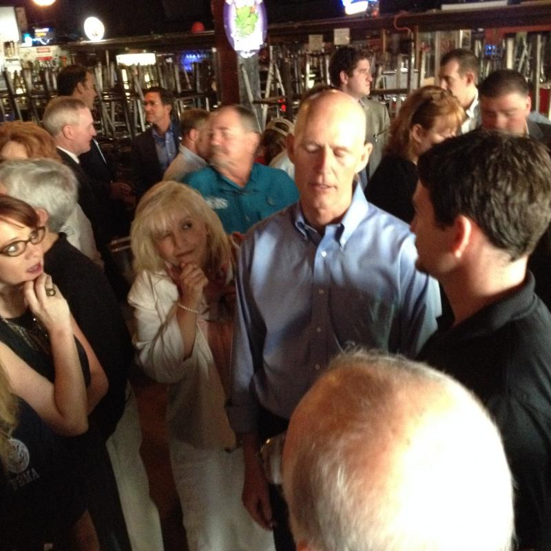 Gov Scott speaking to business owners at Hopjacks in downtown Pensacola