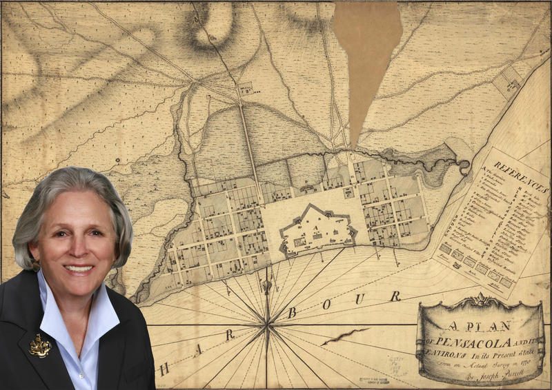 Margo Stringfield of UWF with an early map of Pensacola