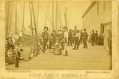 An image of some of the fishermen of the E.E. Saunders & Co. fish house on Palafox Street Wharf