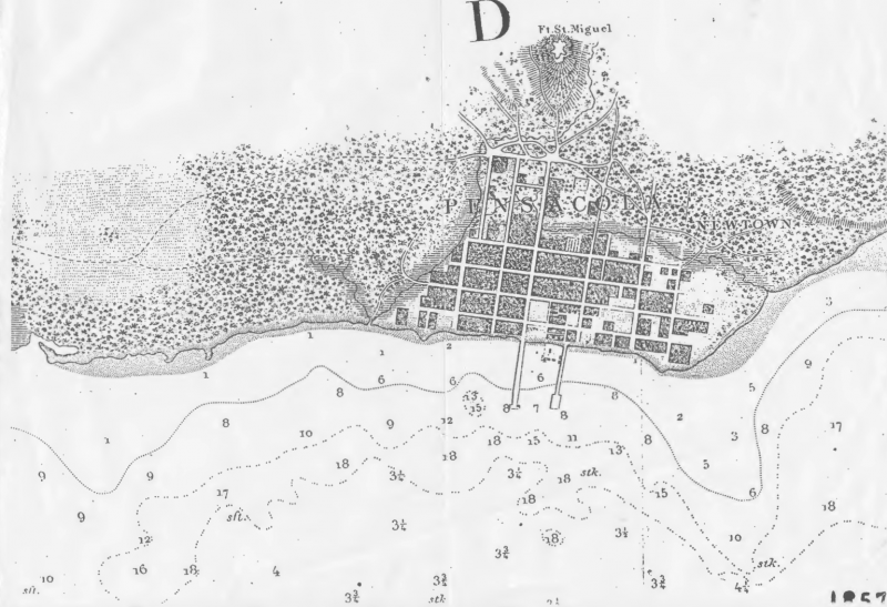 1857 Map of Historic Pensacola shows rivers, creeks, and swamps where there are now businesses and residential areas.