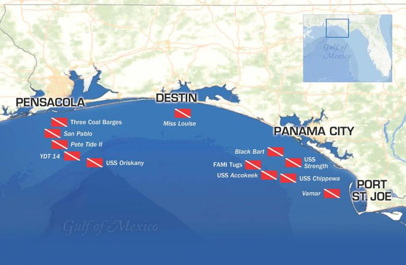 Florida Panhandle Shipwreck Trail Map