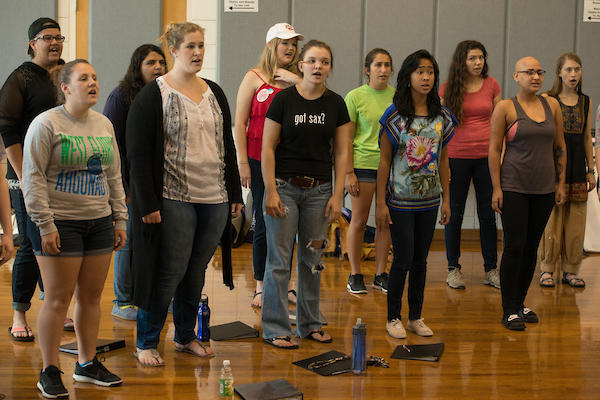 """Students rehearse with the University Singers and Chamber Choir for their upcoming music presentation """"Collaborations!"""" at the University of West Florida Monday September 26, 2016 in Pensacola, Florida."""