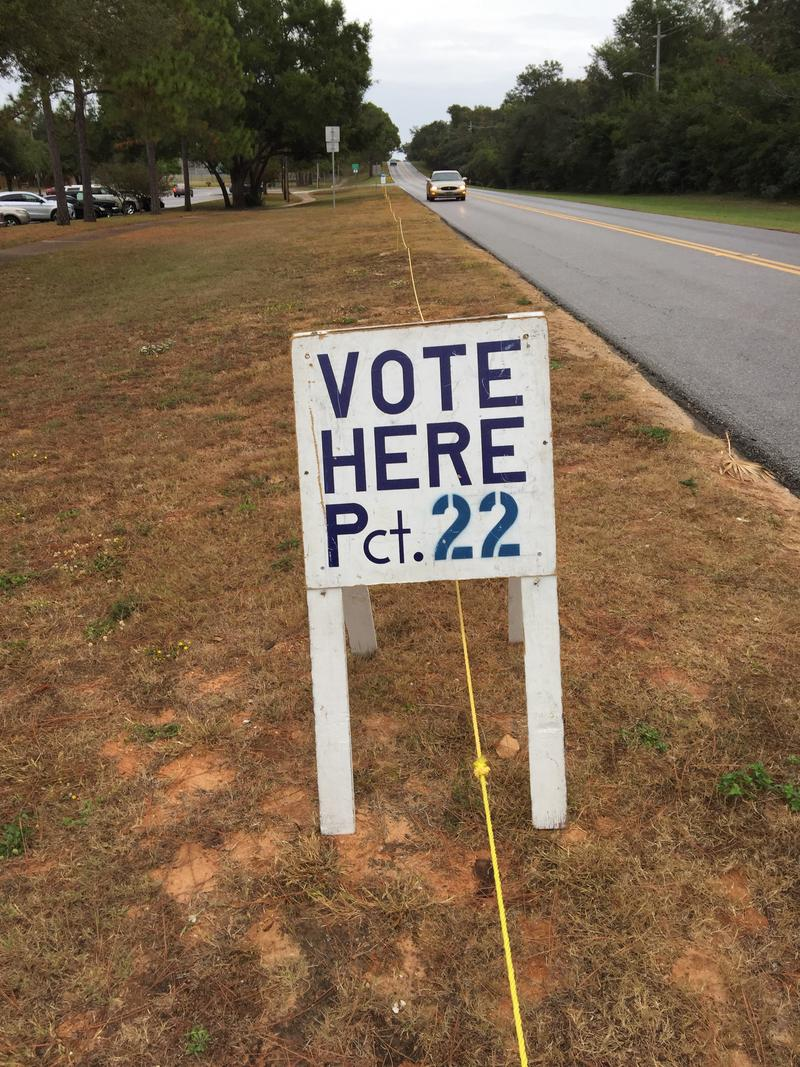 This sign marks the site of Santa Rosa Councy's Precinct 22 in Gulf Breeze.in