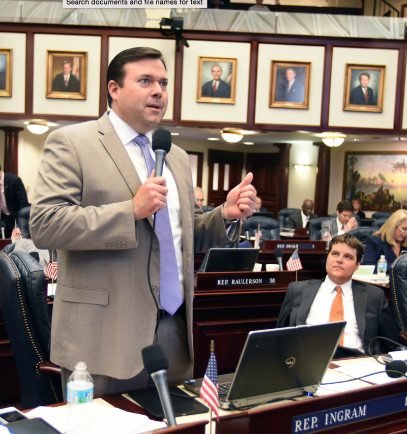 Rep. Clay Ingram, R-Pensacola, debates on the House floor March 3, 2016.