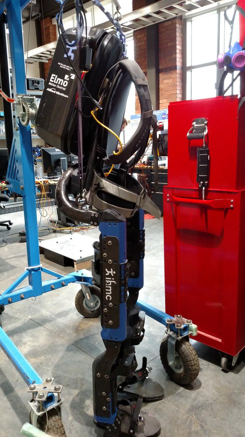IHMC's Mina Exoskeleton is on display in the new Robotics Lab.