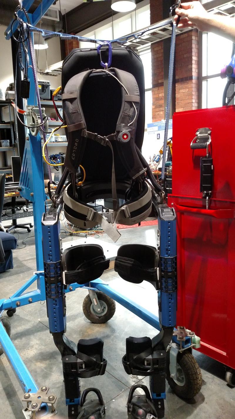Front view of IHMC's Mina Exoskeleton.