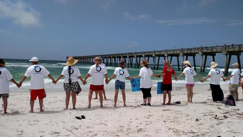 Participants in Saturday's Hands Across the Sand event at Pensacola Beach support ban on drilling in the Gulf of Mexico.