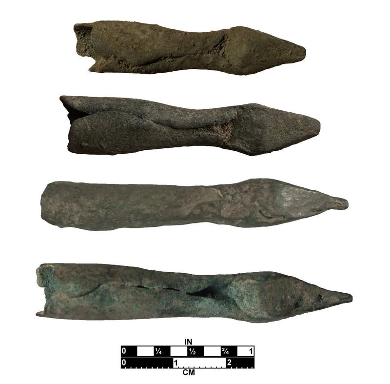 Four of the nine copper crossbow bolt tips found at the Luna Settlement.