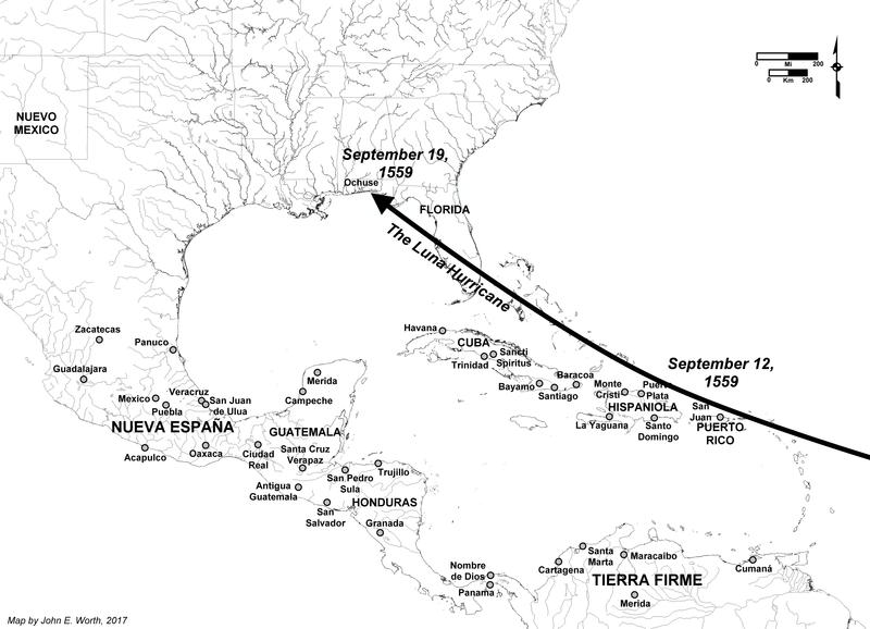 A map showing the path of the hurricane that struck on September 19, 1559.
