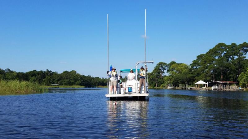 Water sampling in bayou Chico
