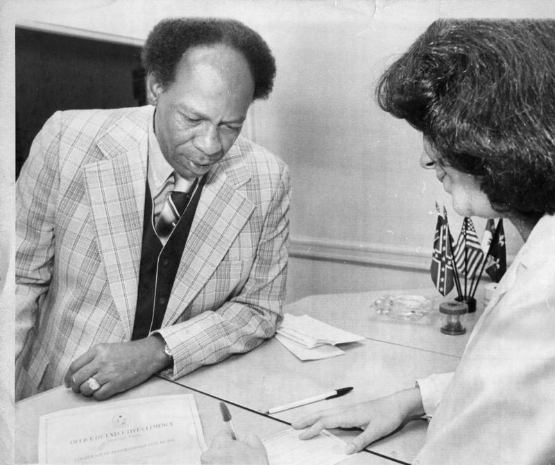 H. K. Matthews registering to vote in 1979.