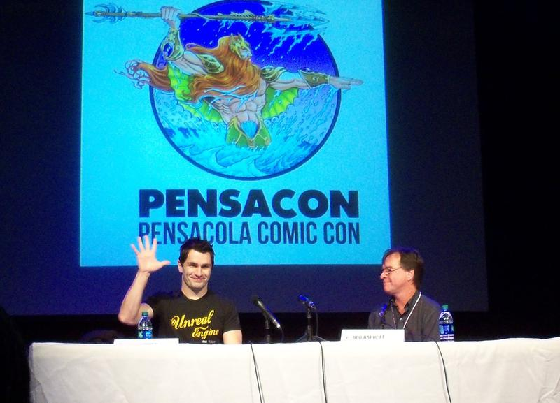 Bob Barrett with Sam Witwer at the Rex Theater during Pensacon 2016