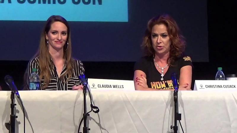 Christina Cusack with Claudia Wells (their name cards are reversed) at Pensacon
