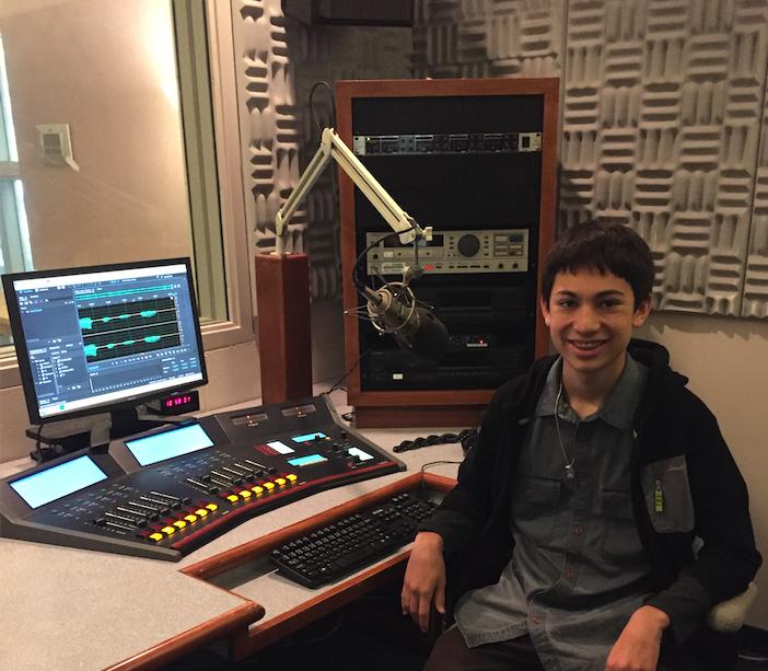 Alexander Ortega in a recording studio at WUWF.