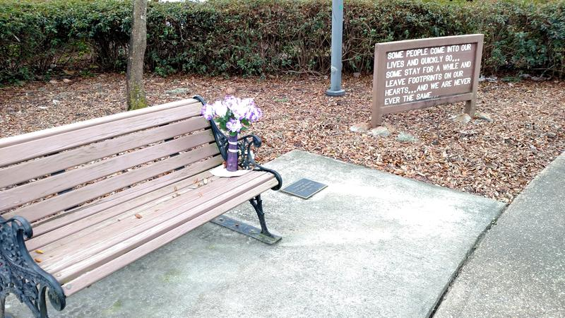 Memorial to UWF student Susan Morris, who was attacked going to her car after a night class in 1993.