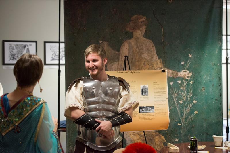 Jared Sutherland a senior history major dressed as a centurion participates in the Daily Life in Ancient Rome event in the John C. Pace Library at the University of West Florida Thursday October 27, 2016 in Pensacola, Florida.