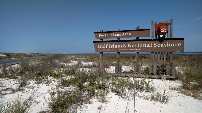 Entrance to Ft. Pickens area of Gulf Islands National Seashore.