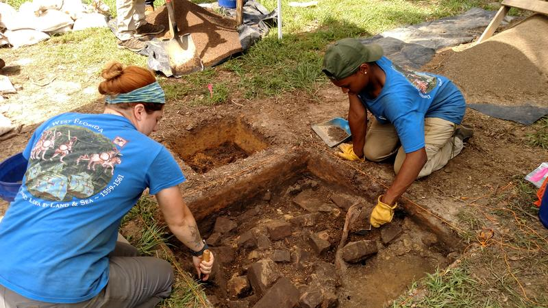 UWF archaeology students work to find southern-most boundary of the original 1835 Simpson plantation house.
