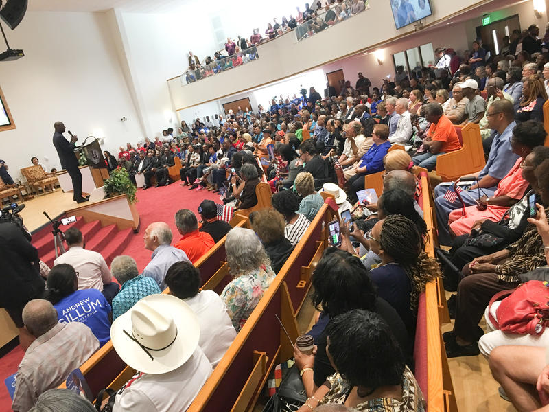 Hundreds gathered at St. John Divine Missionary Baptist Church for the Andrew Gillum rally.